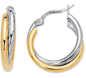 14K Yellow & White Gold Polished 2 Tone Double Hoop Earrings