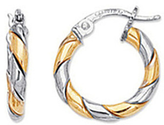 14K Yellow & White Gold Polished 2 Tone Wrap Like Small Hoop Earrings