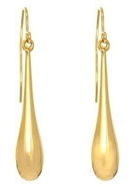 14K Yellow Gold All Shiny Long Puffed Teardrop Earrings