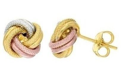 14K Yellow,White & Rose Gold Textured & Shiny Love Knot Earrings