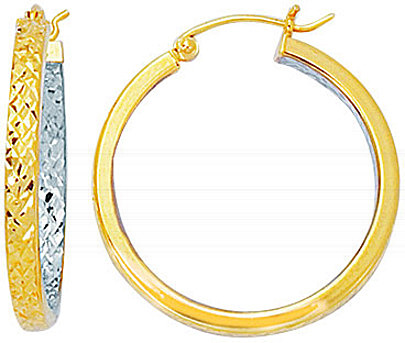 14K Yellow & White Gold Polished Diamond Cut Square Tube Round 2 Tone Small Hoop Earrings