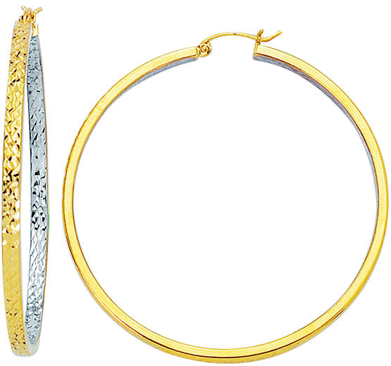 14K Yellow & White Gold Polished Diamond Cut Square Tube Round 2 Tone Large Hoop Earrings