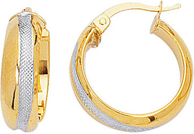14K Yellow & White Gold Polished Textured Round 2 Tone Hoop Earrings