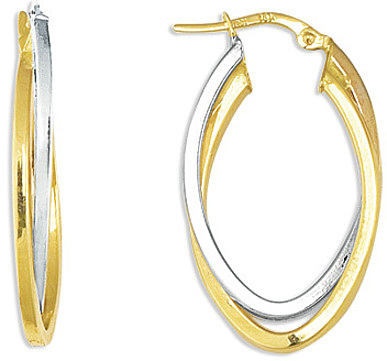 14K Yellow & White Gold Double Oval Like Shape Polished 2 Tone Double Hoop Earrings