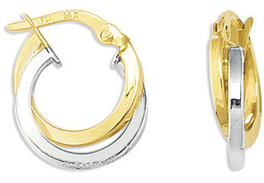 14K Yellow & White Gold Shiny Round Shapetwo Tone Double Row Hoop Earrings