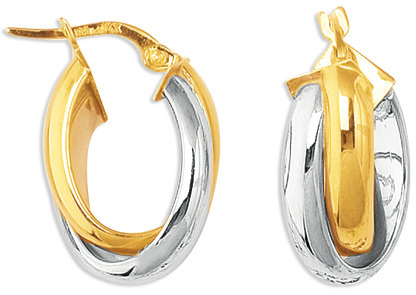 14K Yellow & White Gold Polished Large Double Round Hoop Like 2 Tone Fancy Hoop Earrings