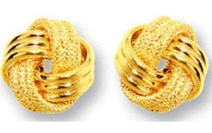 14K Yellow Gold Textured Polished 3 Ridge Small Love Knot Earrings