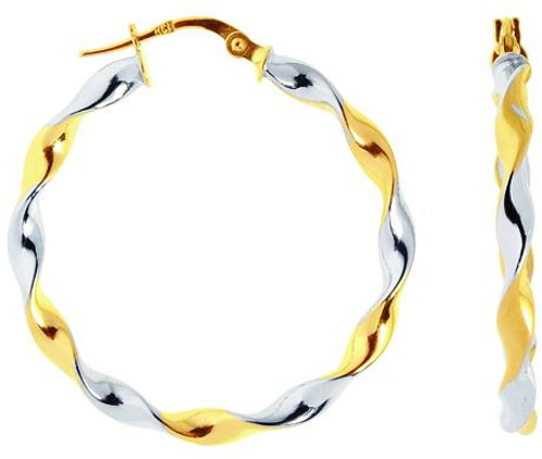 14K Yellow & White Gold Polished Round 2 Tone Twisted Large Hoop Earrings