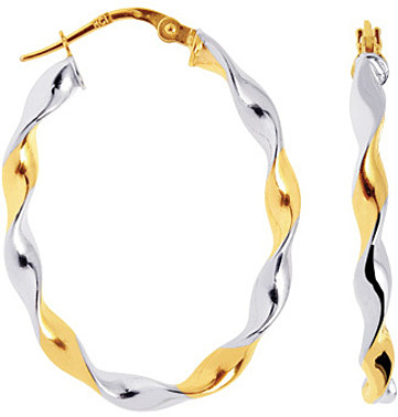 14K Yellow & White Gold Polished Oval Like 2 Tone Twisted Large Hoop Earrings