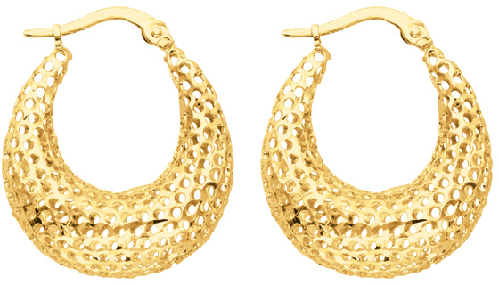14K Yellow Gold Textured Polished Round Graduated Hoop Mesh Like Sparkle Earrings