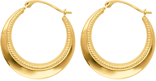 14K Yellow Gold Polished Textured Graduated Symbolic Hoop Earrings