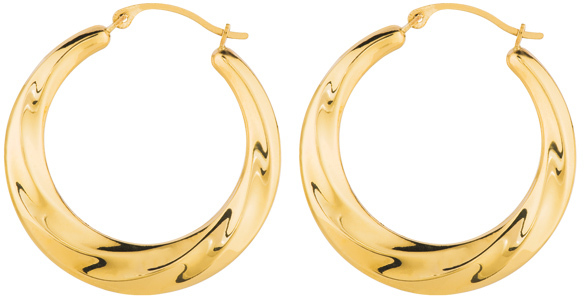 14K Yellow Gold Shiny Textured Graduated Round Symbolic Hoop Earrings