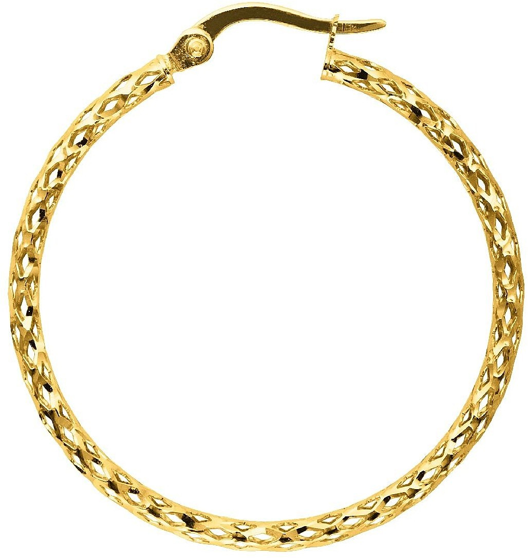 14K Yellow Gold Polished Textured Round Tube Large Hoop Earrings