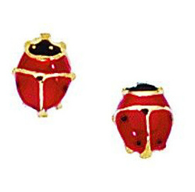 14K Yellow Gold Polished Red/black Ladybug Post Earrings