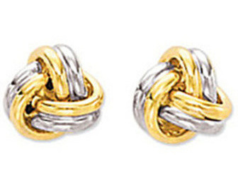 14K Yellow & White Gold Polished 2 Tone Small Love Knot Post Earrings