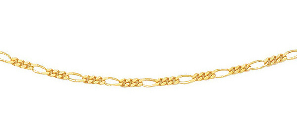 "16"" 14K Yellow Gold 1.9mm (0.07"") Polished Diamond Cut Alternate 3 Round 1 Long Oval Shape Classic Figaro Chain w/ Spring Ring Clasp"