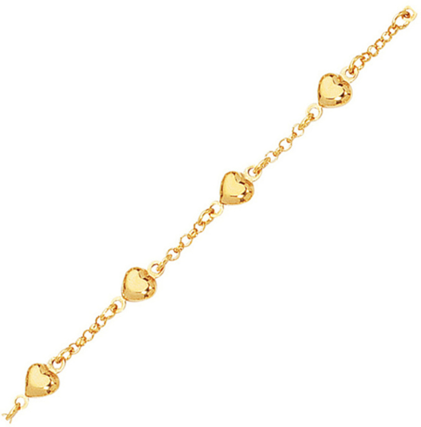 "6"" 14K Yellow Gold 2.0mm (0.08"") Rolo Like Chain Link w/ Polished Station Puff Heart Shape Adjustable Children Bracelet w/ Lobster Clasp"