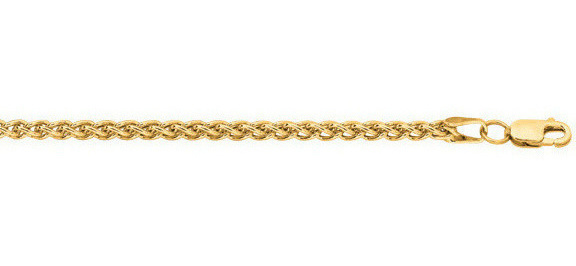 "22"" 14K Yellow Gold 2.8mm (1/9"") Light Weight Wheat Chain w/ Lobster Clasp"