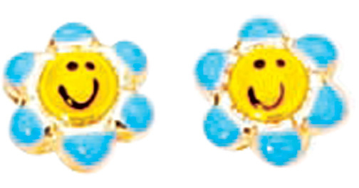 14K Yellow Gold Blue & Yellow Sun Flower Like w/ Happy Face Children Earring