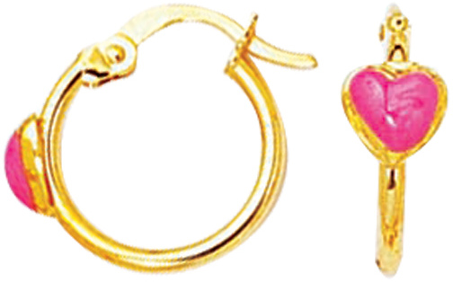 14K Yellow Gold Polish Hoop Like w/ Red Heart Children Earring