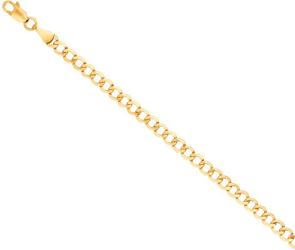 "24"" 14K Yellow Gold 4.4mm (1/6"") Diamond Cut Curb Lite Chain w/ Lobster Clasp"