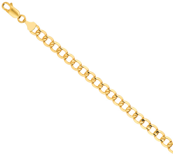 "8"" 14K Yellow Gold 6.2mm (1/4"") Diamond Cut Curb Lite Chain w/ Lobster Clasp"