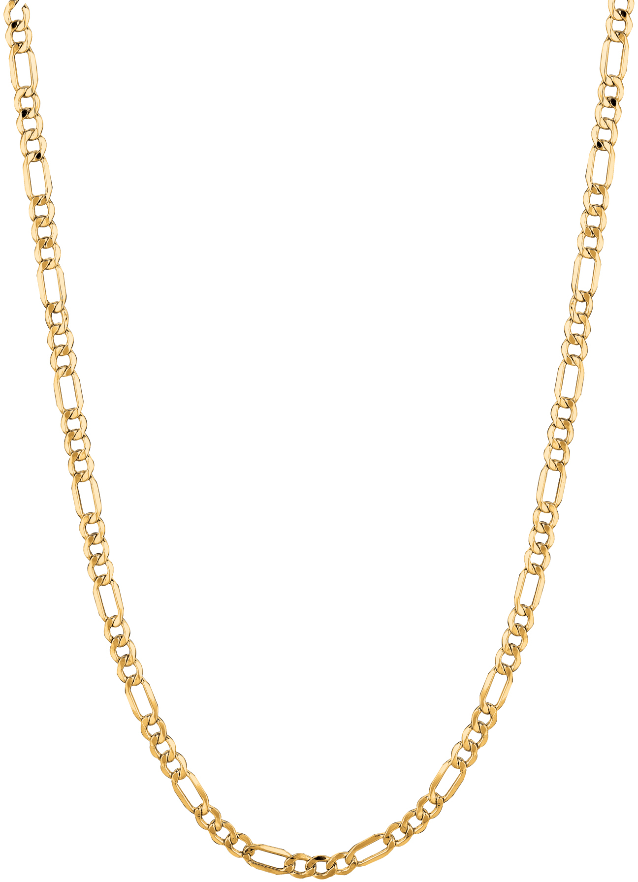 "18"" 14K Yellow Gold 3.5mm (1/7"") Diamond Cut Alternate 3 & 1 Figaro Lite Chain w/ Lobster Clasp"