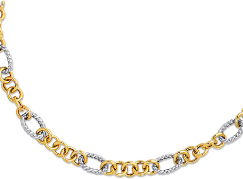 "18"" 14K Yellow & White Gold Shiny Euro Link Fancy Two Tone Necklace w/ Pear Shape Clasp"