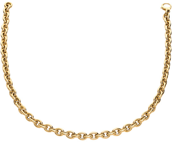 "7.5"" 14K Yellow Gold Polished Oval Cable Chain Link Bracelet w/ Pear Shape Clasp"