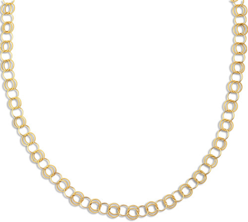 "38"" 14K Yellow Gold 11.45mm (0.45"") Alternate Round Tube Single Polished & Double Textured Long Link Fancy Necklace w/ Pear Shape Clasp"
