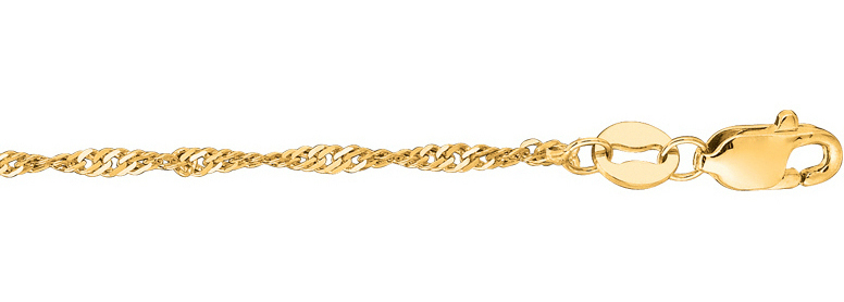 "18"" 14K Yellow Gold 1.7mm (0.07"") Classic Singapore Chain Necklace"