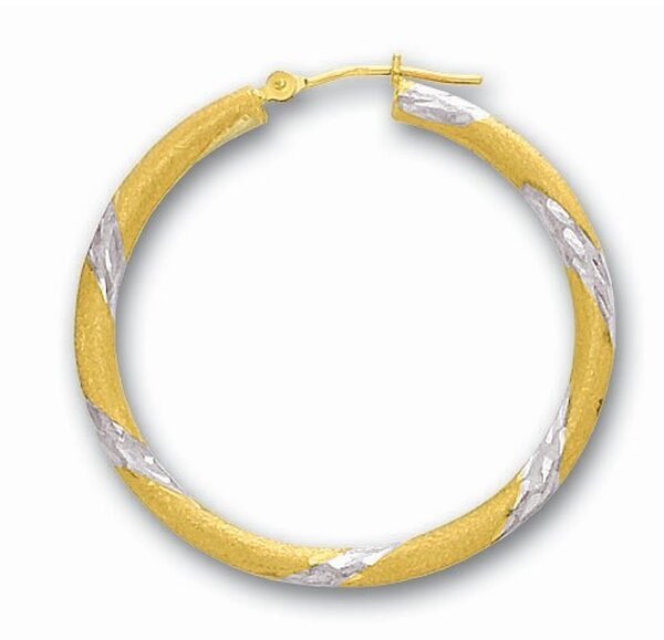 "14K Yellow Gold 3x30mm (0.12""x1.18"") Shiny Diamond Cut Round Tube Hoop Earrings"