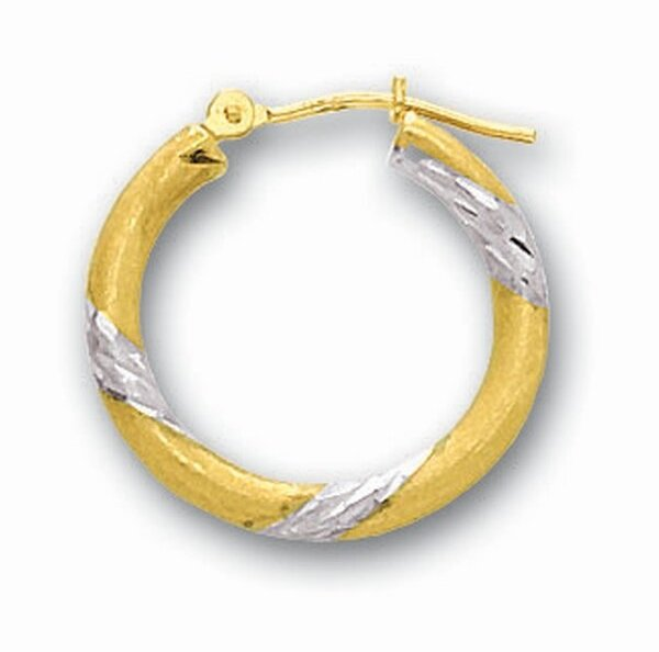 "14K Yellow Gold 3x20mm (0.12""x0.79"") Shiny Diamond Cut Round Tube Hoop Earrings"