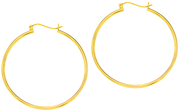 "14K Yellow Gold 1.5x40mm (0.06""x1.57"") Polished Round Tube Hoop Fancy Earrings"