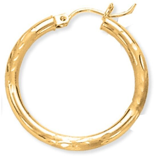 "14K Yellow Gold 2x25mm (0.08""x0.98"") Shiny Diamond Cut Round Tube Hoop Earrings"