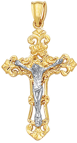 "14K Yellow, White & Rose Gold 22X35mm (0.87""x1.38"") Textured Square Tube Cross w/ Tri Color Across On Top Pendant"
