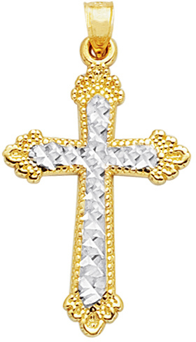 "14K Yellow & White Gold 23X37mm (0.91""x1.46"") Diamond Cut White Cross In Yellow Design Cross 2 Tone w/ Beaded Outline Pendant"