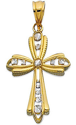 "14K Yellow & White Gold 18X27mm (0.71""x1.06"") White Diamond Cut In Yellow Design Texture Cross 2 Tone w/ Textured Outline Pendant"