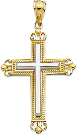 "14K Yellow & White Gold 24X35mm (0.94""x1.38"") White Solid Cross In Textured Yellow Design Cross 2 Tone w/ Beaded Outline Pendant"