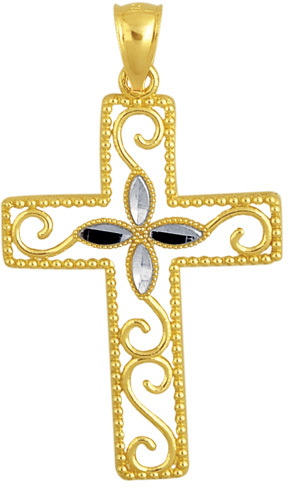 "14K Yellow & White Gold 23X35mm (0.91""x1.38"") Diamond Cut Flower In Design Cross w/ Beaded Outline Pendant"