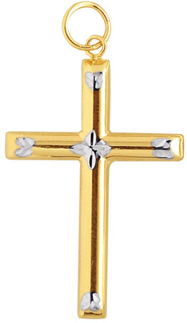 14K Yellow, White & Rose Gold Shiny Diamond Cut Fancy Cross Pendant