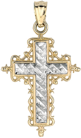 14K Yellow & White Gold Shiny Diamond Cut White Cross Pendant In Yellow Design