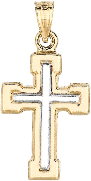 "14K Yellow & White Gold 14X23mm (0.55""x0.91"") Polish White Small Bar Cross On Yellow Square Like Cross Pendant"