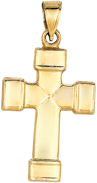 "14K Yellow Gold 17X27mm (0.67""x1.06"") Small Polish Square Tube w/ Cuff Tip Cross Pendant"
