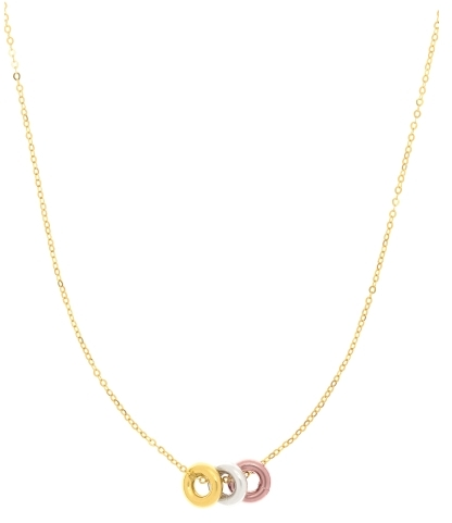 "18"" 14K Yellow Gold Polish Cable Chain Link Necklace & Clasp w/ Textured 3 Multi Color 3 Donut"