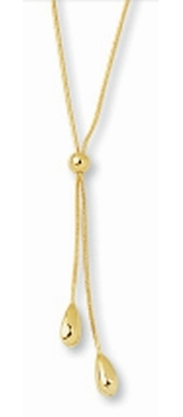 "17"" 14K Yellow Gold Shiny Round Snake Chain w/ Pebble Lariats Necklace w/ Spring Ring Clasp"