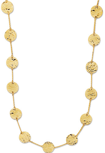 "38"" 14K Yellow Gold 10.0mm (3/8"") Polished Alternate Hammered Flat Round & Rolo Like Chain Long Link Fancy Necklace w/ Spring Ring Clasp"