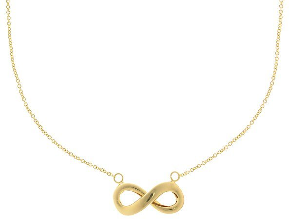 "18"" 14K Yellow Gold Polished Curve Infinity Symbol Necklace"