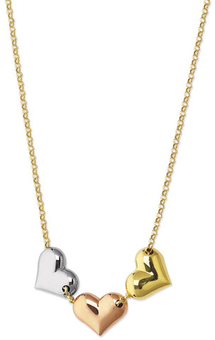 "17"" 14K Yellow Gold 2.0mm (0.08"") Rolo Chain w/ Yellow, White & Rose Gold Dome Tube Heart Pendant Love Connection Necklace w/ Spring Ring Clasp"
