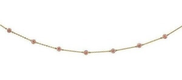 "18"" 14K Yellow Gold Shiny Cable Chain Link & Rose Crystal Ball Necklace w/ Lobster Clasp"